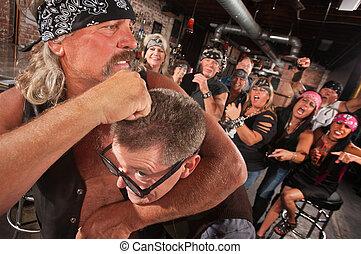 Nerd in Noogie with Gang Member - Bearded gang member...