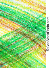 Abstract green and yellow crayon drawing background