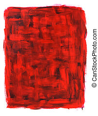 Red abstract oil painting - Red and black abstract oil...