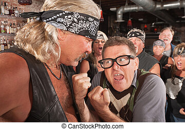 Nerd With Fists Against Strong Man - Angry nerd with...