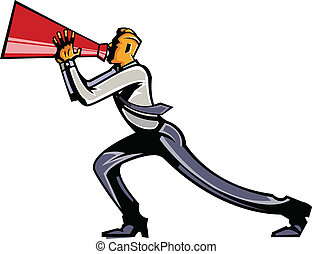 Side view of man holding megaphone
