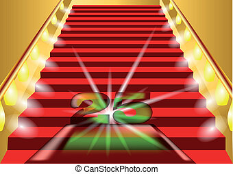 25 years anniversary. symbol on the lighted stairs