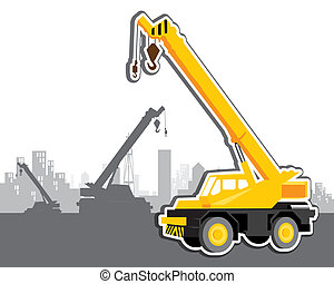 vector mobile crane - The abstract of vector mobile crane