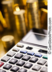 Office Concept - Financial indicators,Chart,Gold bar,money