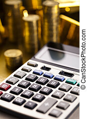 Finance Concept - Financial indicators,Chart,Gold bar,money