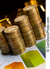 Coins and gold bars, Finance - Financial...