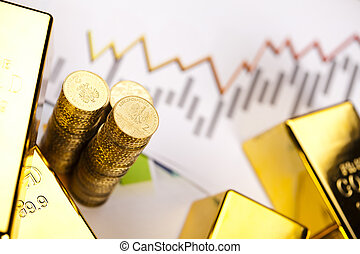 Coins and gold bars,Finance Concept - Financial...