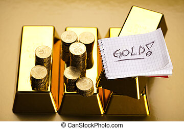 Monthly report,Finance Concept - Coins and gold bars,...