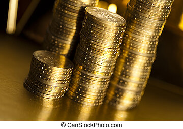 Coins background - Coins and gold bars, Finance Concept