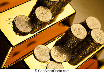 Gold bar and coins - Coins and gold bars, Finance Concept