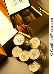 Money, coins background - Coins and gold bars, Finance...