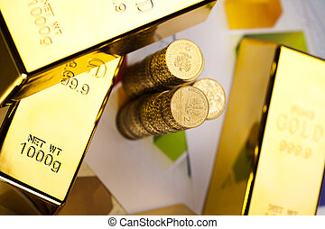 Gold and money - Coins and gold bars, Finance Concept