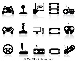 video game and joystick icons set - isolated black video...