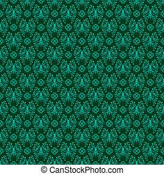 Seamless Rich Green Damask - Damask pattern featuring...