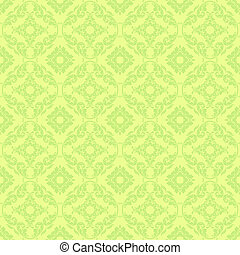 Seamless Green Damask - Bright lime green damask design on...