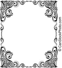 Template frame design for card. Floral pattern. - Abstract...