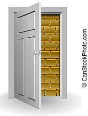Gold behind door - A white door half open and a wall of...