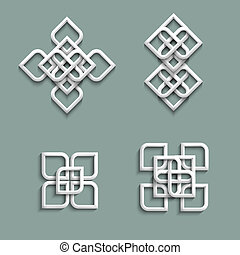 3d ornaments in arabic style Vector set