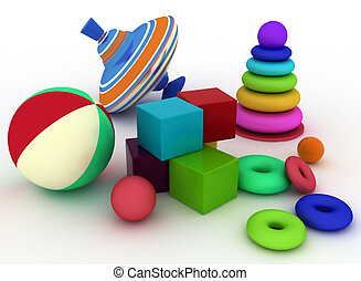 3d illustration of child's toys - 3d render illustration of...