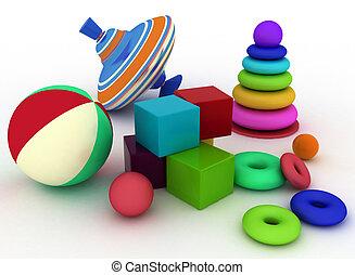 3d illustration of child's toys - 3d render illustration of...