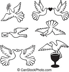 Dove set - Set symbolic images with doves