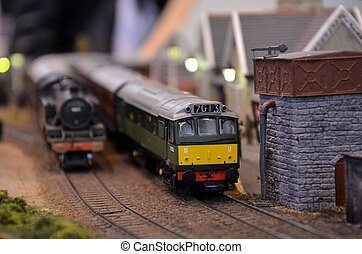 Diesel electric model railway train - A green and yellow...
