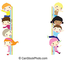 children background - children popping out and waving...