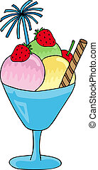 Ice cream sundae - vector illustration.