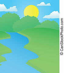 Landscape river in summer - vector illustration