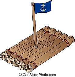 Wooden raft with flag - vector illustration.