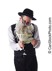 Old jew with dollar bills - Portrait of old jew with dollar...