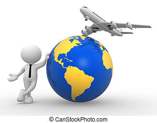 Travel - 3d people - man, person with an airplane and earth...