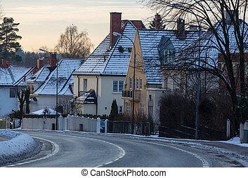 Street in Oslo - street in winter Oslo