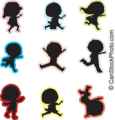 children silhouettes - 9 little children children...