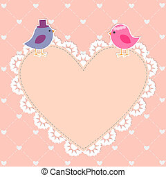 Romantic card with cute birds