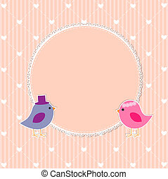 Romantic frame with cute birds