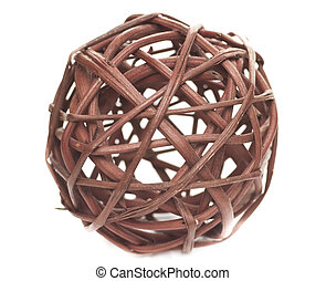 Decorative sphere made of bound wicker - Sphere made from...