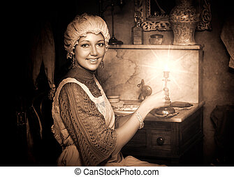 woman in old cap with candlestick - Retro portrait of...