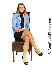 Business woman sitting on chair isolated on white background