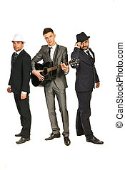 Full length of musical band isolated on white background