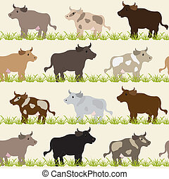 Seamless pattern with cows, bulls and grass