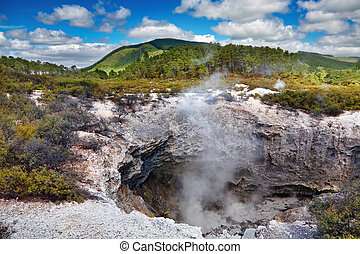 Wai-O-Tapu thermal area, New Zealand - Volcanic crater in...