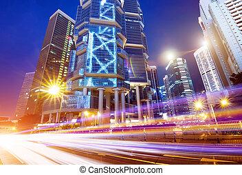 hong kong - Hong Kong City night and modern building