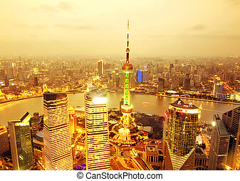 shanghai - Bird's eye view of Shanghai Pudong at night