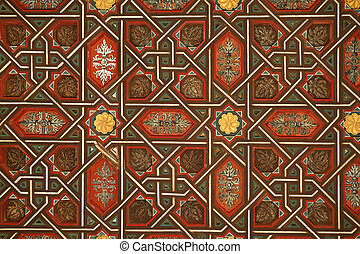 Moorish wooden decoration - Detail of wooden decorated wall...