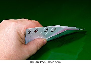 four aces and joker - poker game - Player�s hand with four...