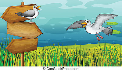 Two chirping birds - Illustration of two chirping birds in...