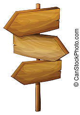 Blank wooden arrow signboard - Illustration of a blank...