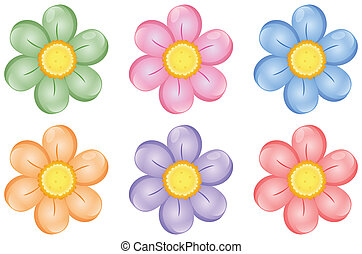 A Set of colorful flowers - Illustration of colorful flowers...
