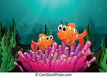 Two fishes above a pink coral